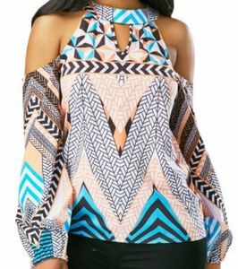 Cold Shoulder Cutout Long Sleeve Printed Blouse